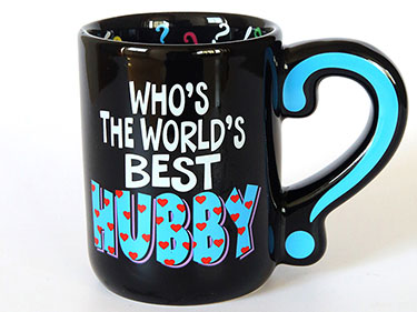 400ml Custom black ceramic coffee mugs with question mark handle straight shaped funny hubby