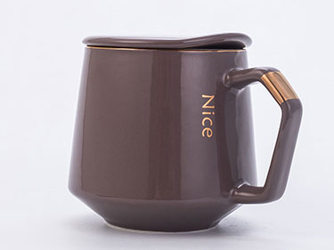 13oz Newest nordic style brown crystal boob pearl glaze china ceramic coffee mugs with lid spoon minimalist european luxury