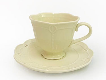 Nordic ceramic cup and saucer retro cream lace embossed cut out lace afternoon tea ceramic coffee mug set